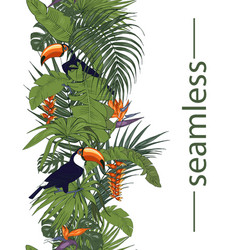 Toucan and tropical flowers and leaves vector