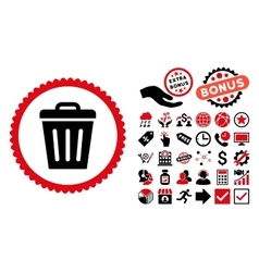 Trash Can Flat Icon with Bonus vector image