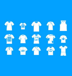 tshirt icon blue set vector image