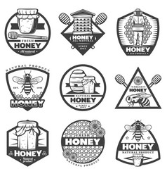 vintage monochrome honey labels set vector image