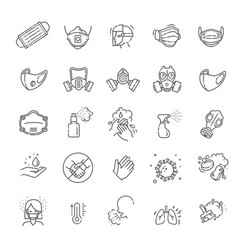 Virus related icons thin icon set vector