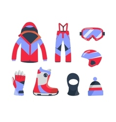Winter sports objects equipment collection vector image