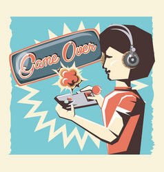 woman playing video game retro vector image