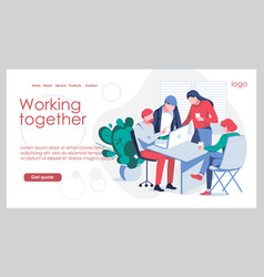 Working together landing page template vector