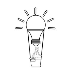 Young businessman on hot air balloon in lightbulb vector