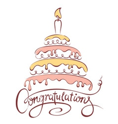 Cake and Congratulations vector image vector image