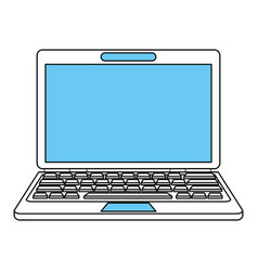 color silhouette image front view laptop computer vector image