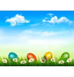 Easter background Easter eggs laying in green vector image vector image