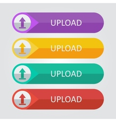 flat buttons upload vector image vector image