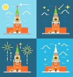 Kremlin clock tower flat design vector image vector image