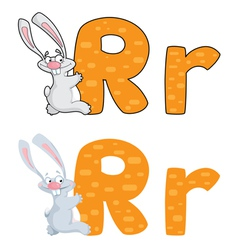 letter R rabbit vector image