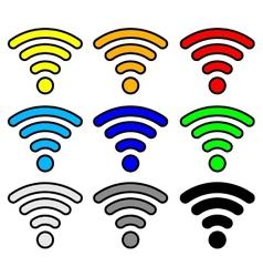 multi color wifi wireless hotspot internet signal vector image vector image
