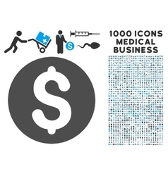 Coin Icon with 1000 Medical Business Pictograms vector image