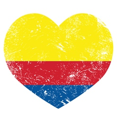 Columbia retro heart shaped flag vector image vector image