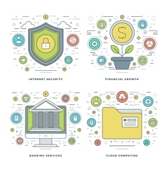 Flat line Internet Security Financial Growth vector image vector image