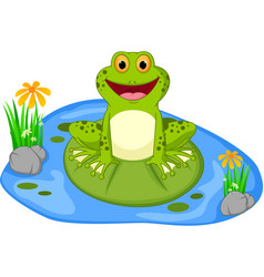 happy frog cartoon sitting on a leaf vector image