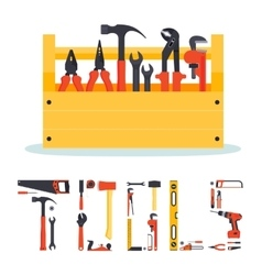 Hardware tools box with letters vector image