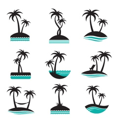 palm labels set vector image vector image