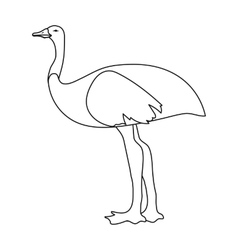 Emu icon in outline style isolated on white vector image vector image
