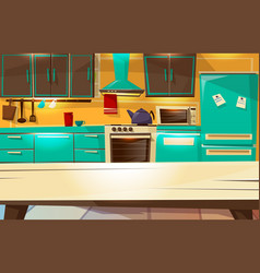 kitchen interior background cartoon vector image