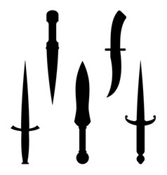 set of dagger knives black silhouettes with very vector image vector image