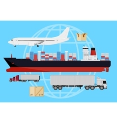 Shipping vehicles composition vector image
