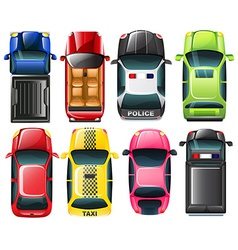 Topview of the different type of vehicles vector image vector image