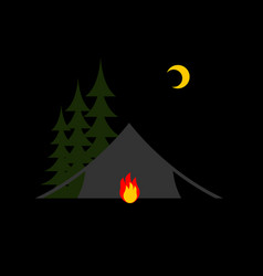 camping night isolated sun forest and tent vector image vector image