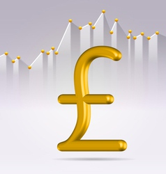 Golden pound sign over chart vector image vector image