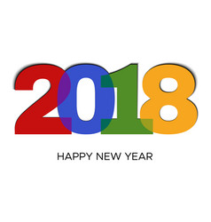happy new year 2018 colorful label vector image