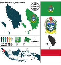 Map of North Sumatra vector image vector image