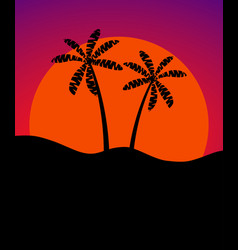 palm trees against the background of the sun vector image