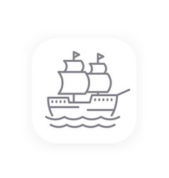 sailing vessel old ship line icon vector image vector image