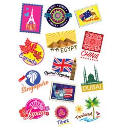 world country travel landmark label set vector image