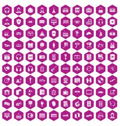 100 headphones icons hexagon violet vector