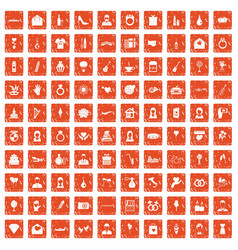 100 wedding icons set grunge orange vector