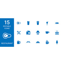 15 restaurant icons vector image