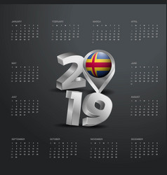 2019 calendar template grey typography with aland vector