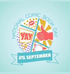 25 september national comic book day vector