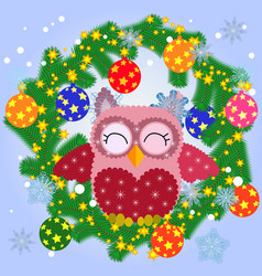 A christmas background with owl snowflakes vector