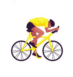 A swarthy man in yellow sportswear on a yellow vector