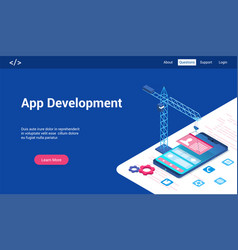 app development 3d lp template vector image