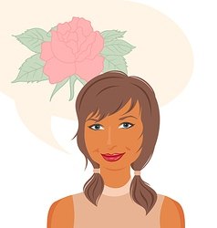 attractive girl dreams of roses vector image