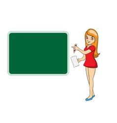 Beautiful teacher woman in front of chalkboard vector image