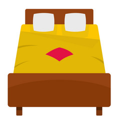 Bed with yellow blanket icon isolated vector