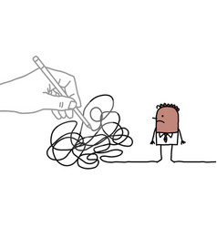 big drawing hand with cartoon black man - tangled vector image