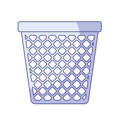 Blue shading silhouette of office trash can vector