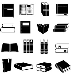 Books icons set vector