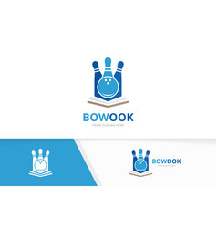 bowling and open book logo combination vector image