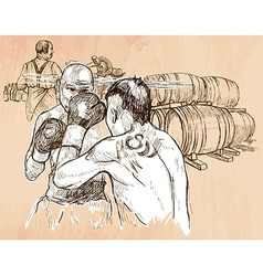 Box Boxing match - An hand drawn Line art vector